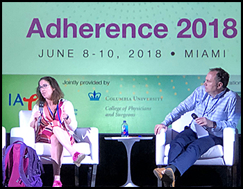 Dr. Lisa Hightow-Weidman and Dr. Patrick Sullivan presenting onstage at Adherence 2018