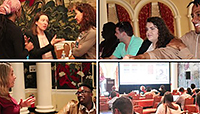 Collection of images from previous meetings showing people talking and presenting.