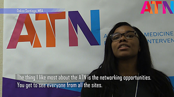 "Screenshot of a video which says ""The thing I like most about the ATN is the networking opportunities. You get to see everyone from all the sites."""