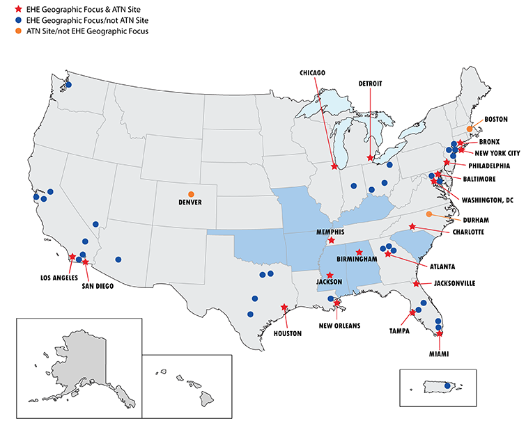 A US map showing places where EHE geographic focus sites and ATN sites are located by city